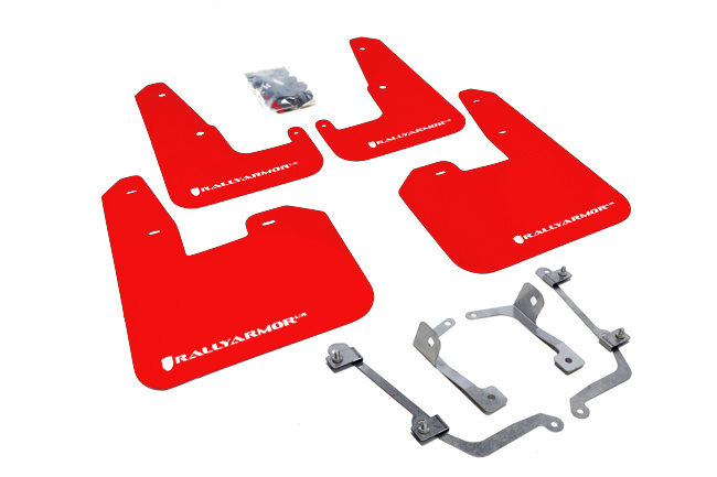 (11-14) WRX Hatchback - Rally Armor - UR Mudflaps (Red/White)