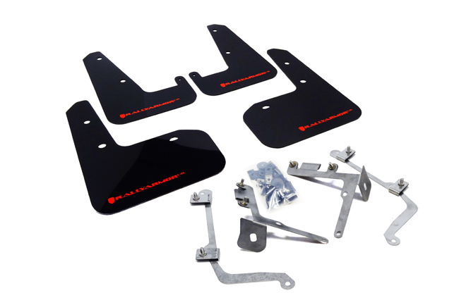 (11-14) WRX & STI Sedan - Rally Armor - UR Mudflaps (Black/Red)