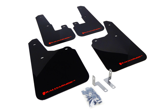 (10-14) Outback - Rally Armor - UR Mudflaps (Black/Red)