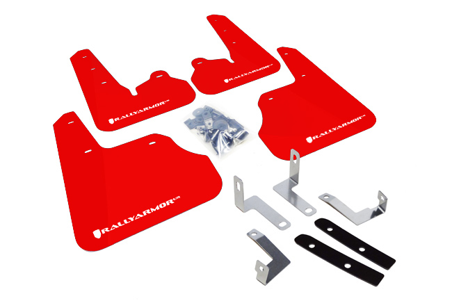(12-17) Impreza - Rally Armor - UR Mudflaps (Red/White)