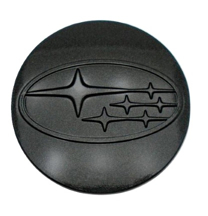 Center Caps (Plastic) - Subaru Black Logo (4pc Set)
